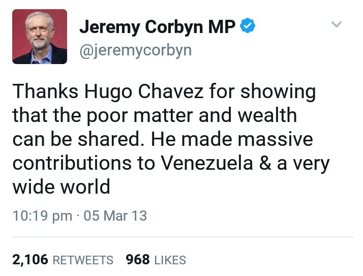 Jeremy Corbyn Pa Twitter Thanks Hugo Chavez For Showing That The