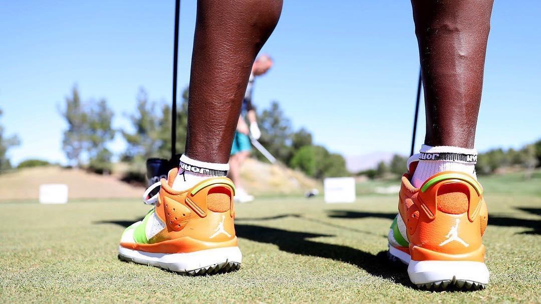 Ray allen wearing custom air jordan 6 low golf shoes at the  djci. 📷     jedjacobsohn    playerstribune c48ae3e7b2a7