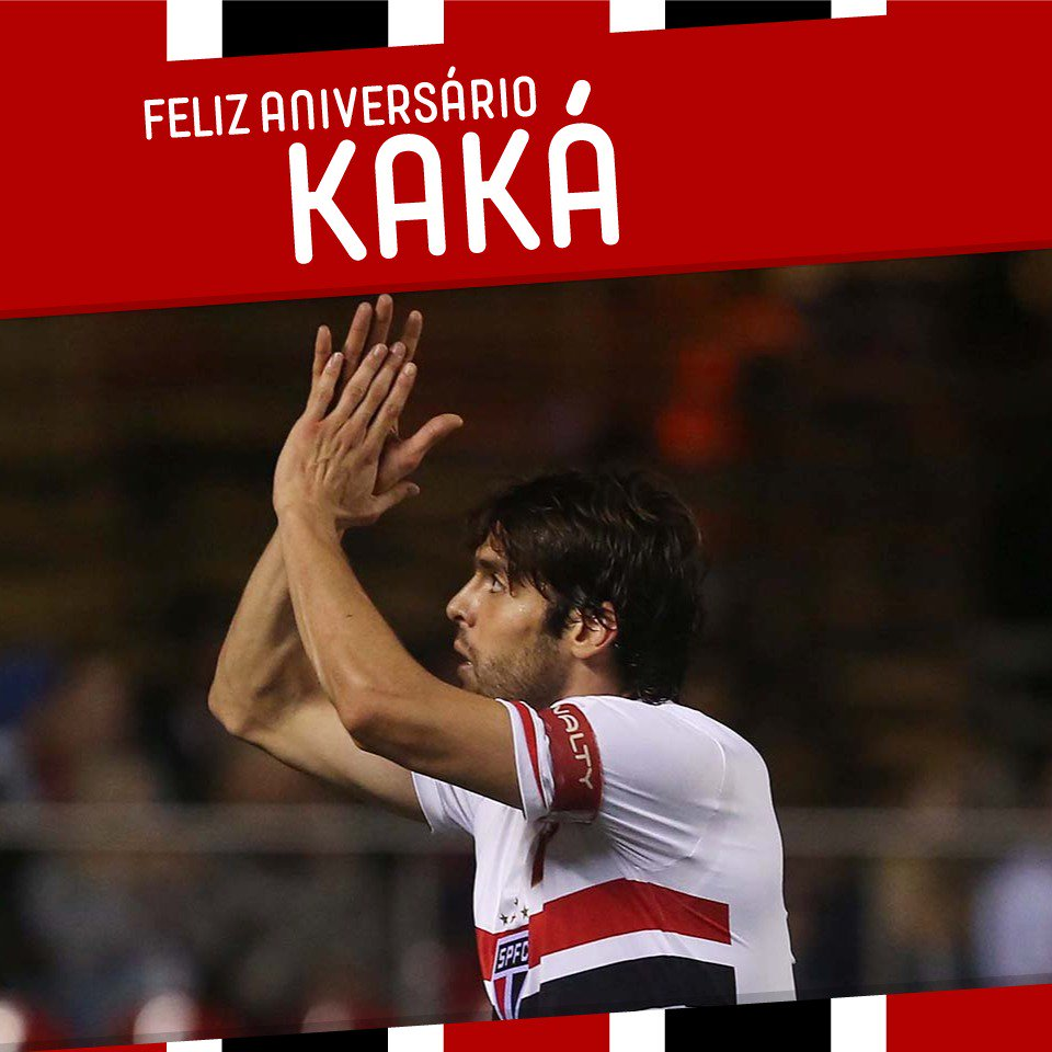 Hoje o craque @KAKA completa 35 anos de idade! 🎂🎉 Parabéns e muitas felicidades, tricolor! 🔴⚪️⚫️