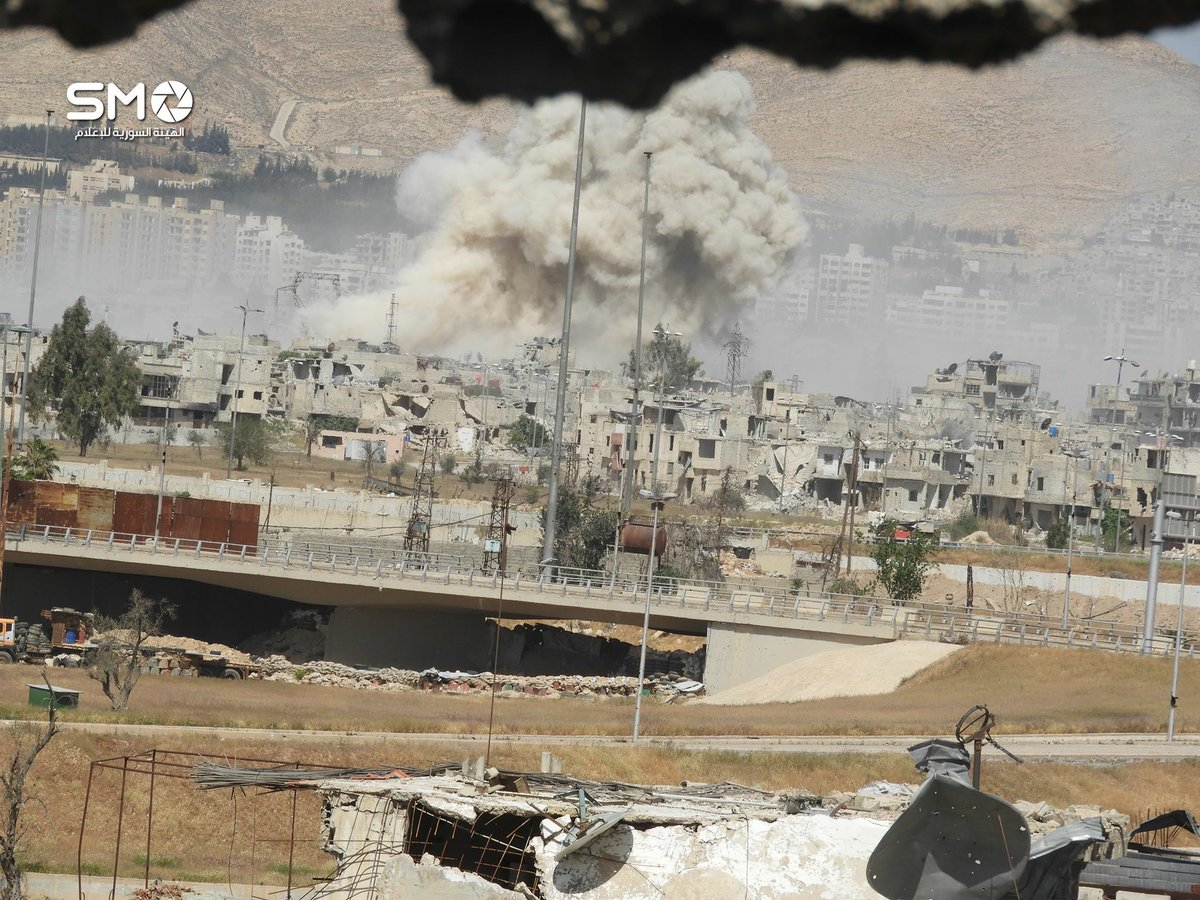 Air raids on Qabun district of Damascus