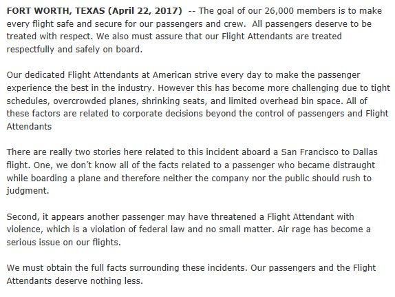 American Airlines' Flight Attendants Union Blames the Airline for Disturbing Video (oh, and a Passenger)