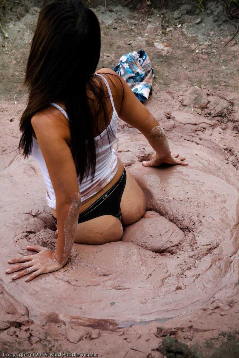 Muddy asian naked girl