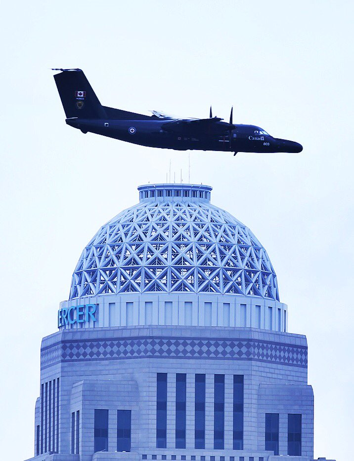 A C-142 flies above the Providian tower during #ThunderOverLouisville....