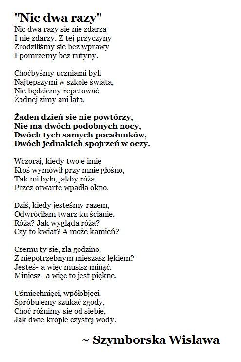 Cytowanie På Twitter Nic Dwa Razy Wisława Szymborska
