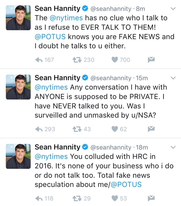 C DOP5hV0AA8Q3u Hannity getting nervous about #TrumpRussia surveillance... freaks out when called a Trump advisor