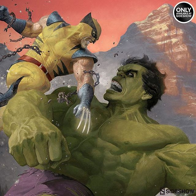 And the variant edition! #Hulk vs. #Wolverine original is in #gouache on illustration board, variant details with …  http:// ift.tt/2ogM4qj  &nbsp;  <br>http://pic.twitter.com/o6Vfk8HEi4