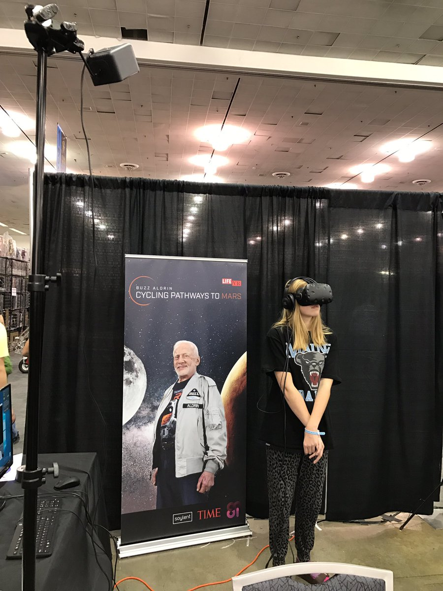 She's meeting a real life superhero. THE Buzz Aldrin is in #VR thanks to @LIFE and @8iReality