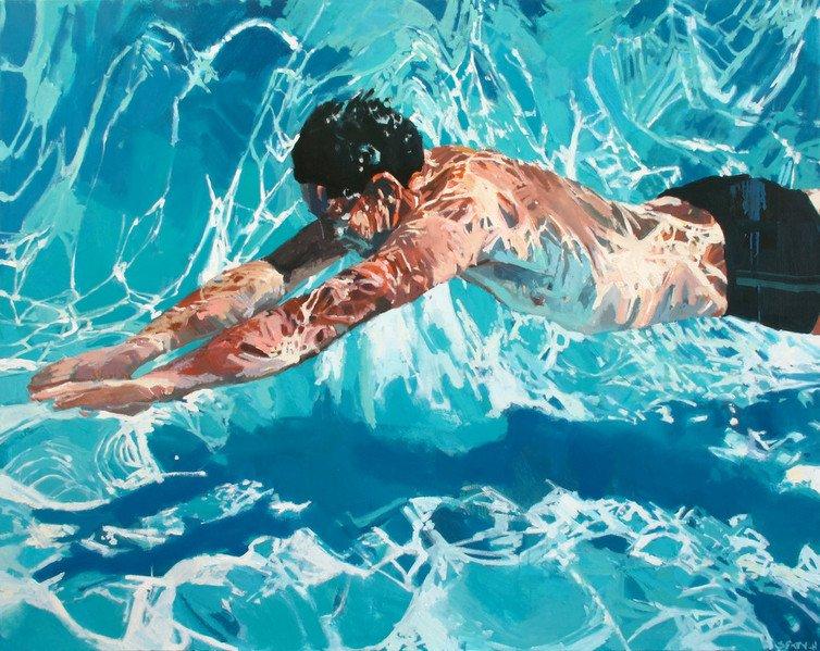 underwater painting people swimming - 1000×803