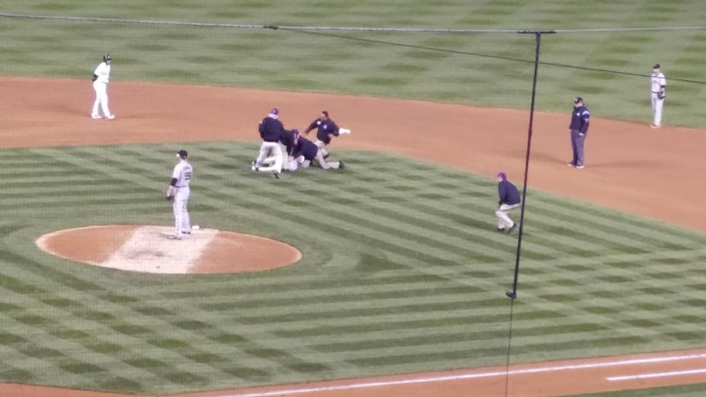 This person who ran on the field cares not about reporters&#39; deadlines.   #Rockies #SFGiants<br>http://pic.twitter.com/oluyrjdeJm