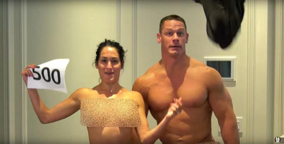 Wwe Star Nikki Bella Strips Naked With John Cena Celebrate Reaching 500K Followers On Youtube - Scoopnestcom-8599