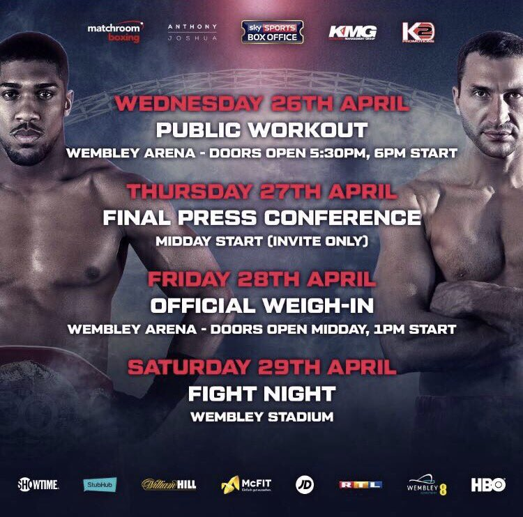 Watford's Anthony Joshua will fight Wladimir Klitschko for the IBF, WBA (Super) and IBO heavyweight at Wembley Stadium