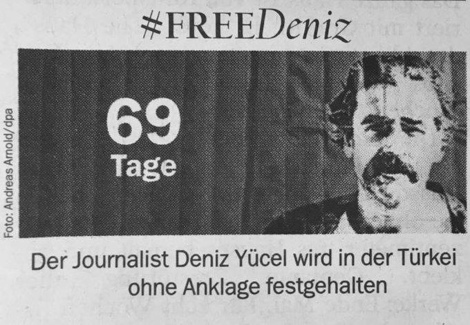 Wie immer auch im gedruckten #Tagesspiegel: Deniz #Yücel seit 69 Tagen in Haft.