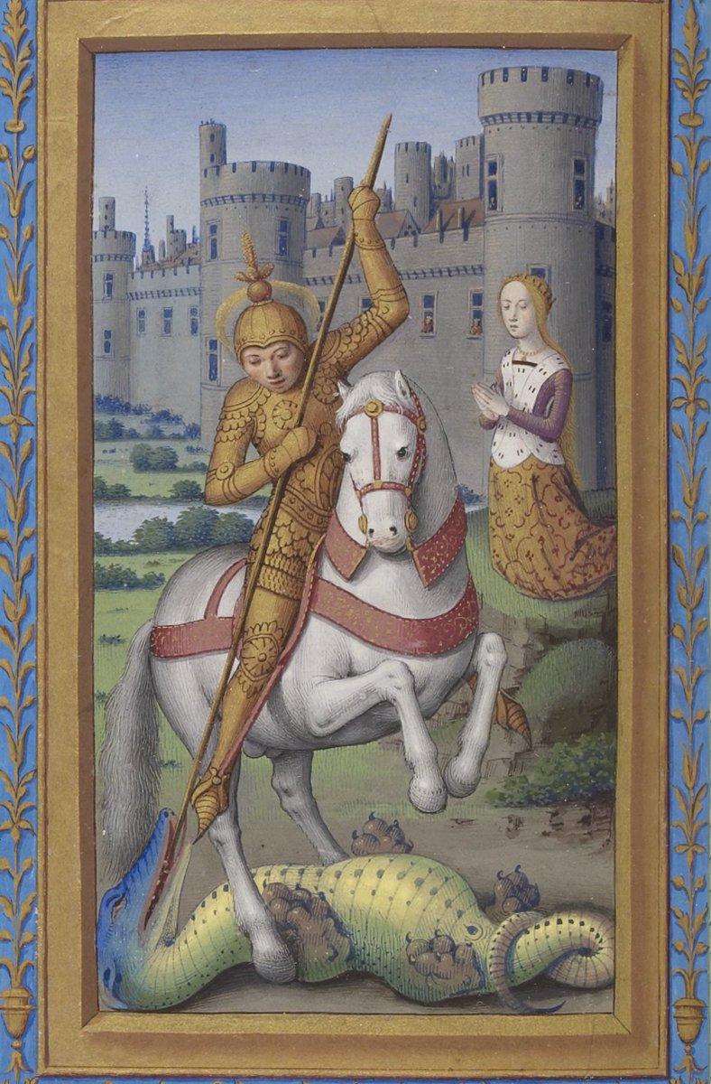 聖ゲオルギウスのドラゴン退治。 みてください!この肉球を!プニプニしたくなりませんか? 1501-1504年 BnF Latin 10532 f.374r