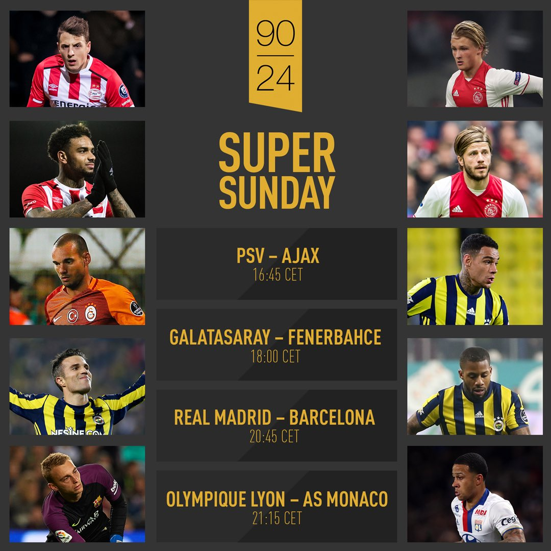 It&#39;s Super Sunday! We&#39;ll be sitting on the edge of our seats, what about you? #psvaja #galfen #rmabar #olasm <br>http://pic.twitter.com/y5g28YIW59