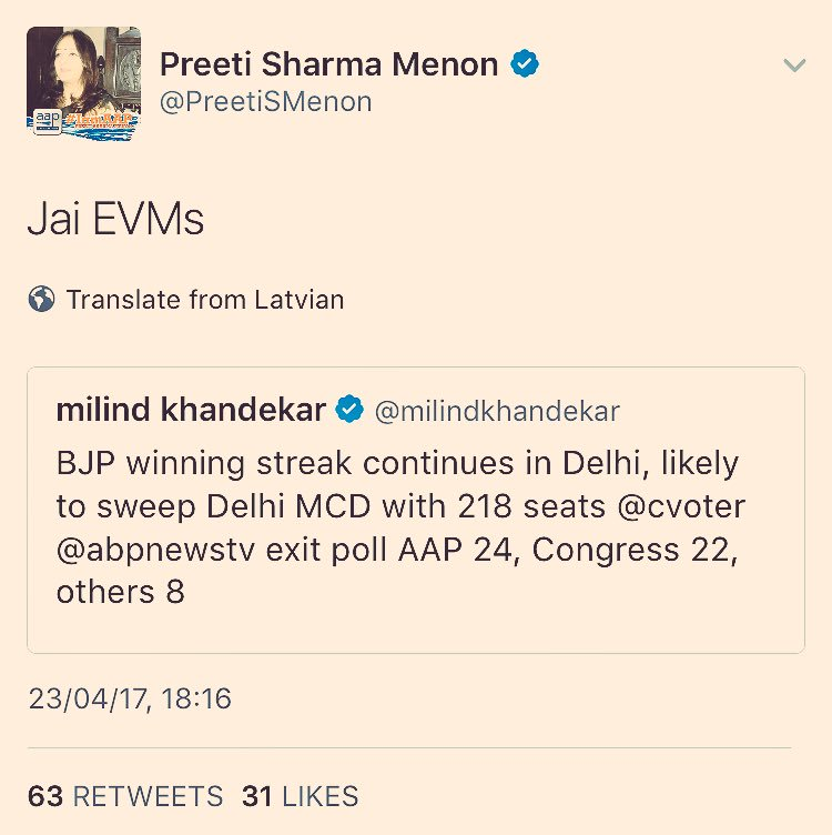 Where @PreetiSMenon blames EVMs for exit poll results. #CantMakeThisUp