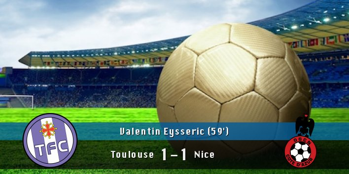 Valentin Eysseric (&#39;59) scores!!  #Toulouse 1 #Nice 1<br>http://pic.twitter.com/3WmIMPZnoR