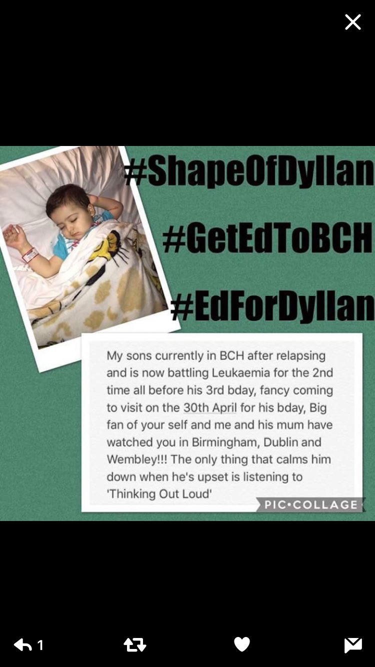 RT @liam_coyle17: @SamBaileyREAL can you please share and retweet to help get @edsheeran to Dyllan for his birthday. https://t.co/1AxPTOA9ok