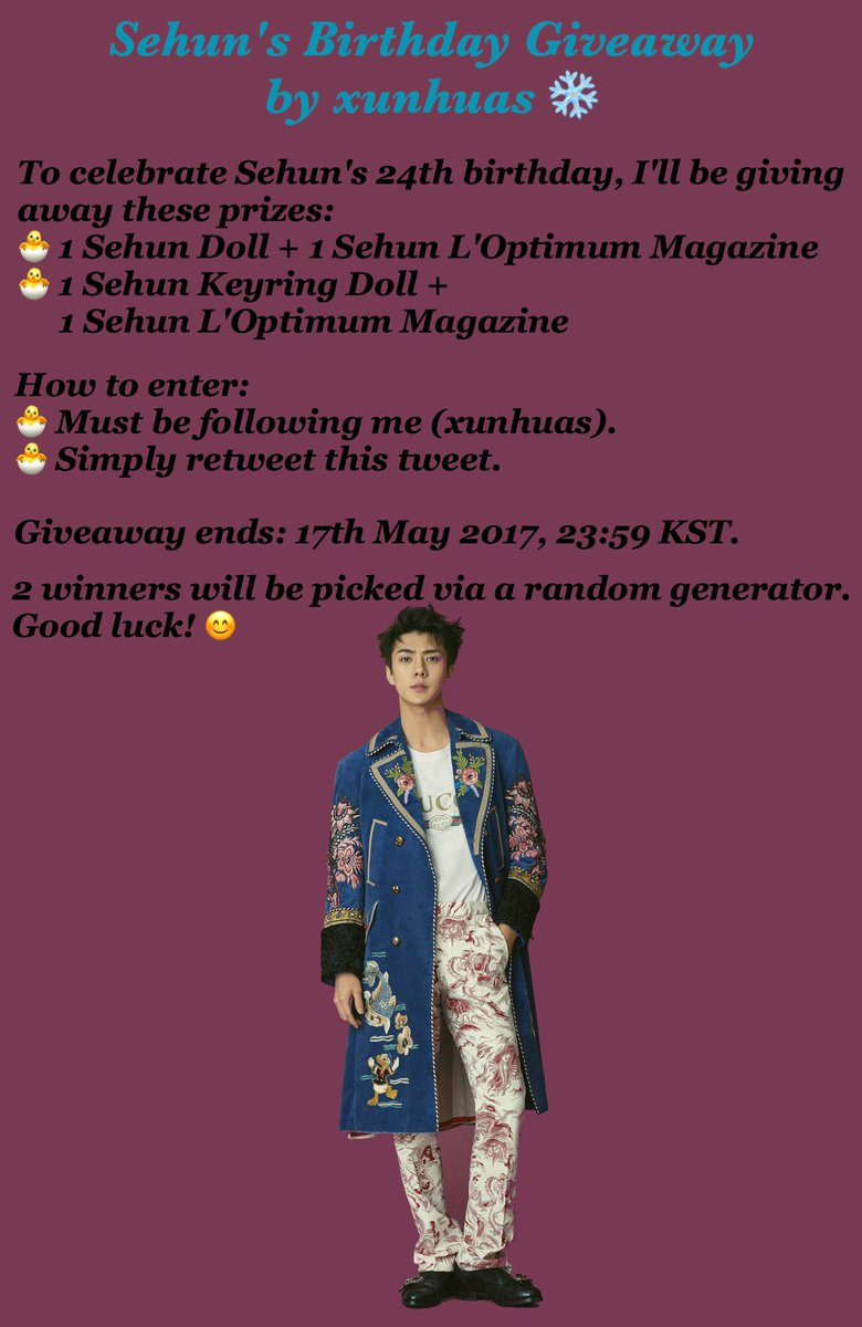 #HAPPYSEHUNDAY GIVEAWAY BY XUNHUAS    For all fans worldwide   RT & follow me   Deadline: 17th May 2017, 23:59 KST  Good luck!  pic.twitter.com/6yQnNi6MoJ