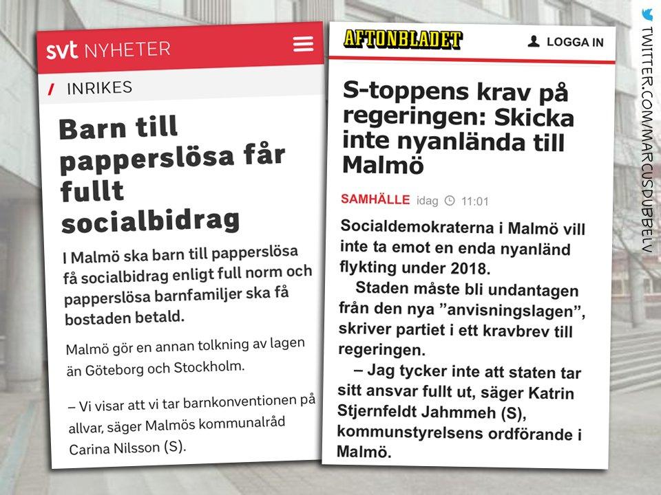 (S) i Malmö 2014: Ingen människa är illegal, allt åt alla! SOLIDARITET! (S) i Malmö 2017: Ok, det funkade inte, stoppa all invandring tack.