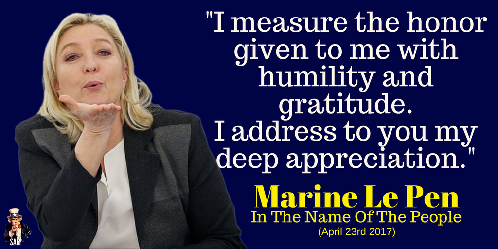 Marine Le Pen:  &quot;I measure the honor given to me with humility and gratitude.  I address to you my deep appreciation.&quot;  #Présidentielle2017 <br>http://pic.twitter.com/cLFC5q06cY