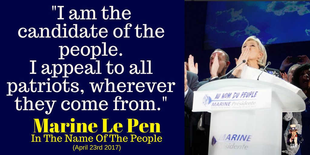 Marine Le Pen: &quot;I am the candidate of the people.  I appeal to all patriots, wherever they come from.&quot;  Keep fighting!  #Présidentielle2017 <br>http://pic.twitter.com/D51twgiCgs