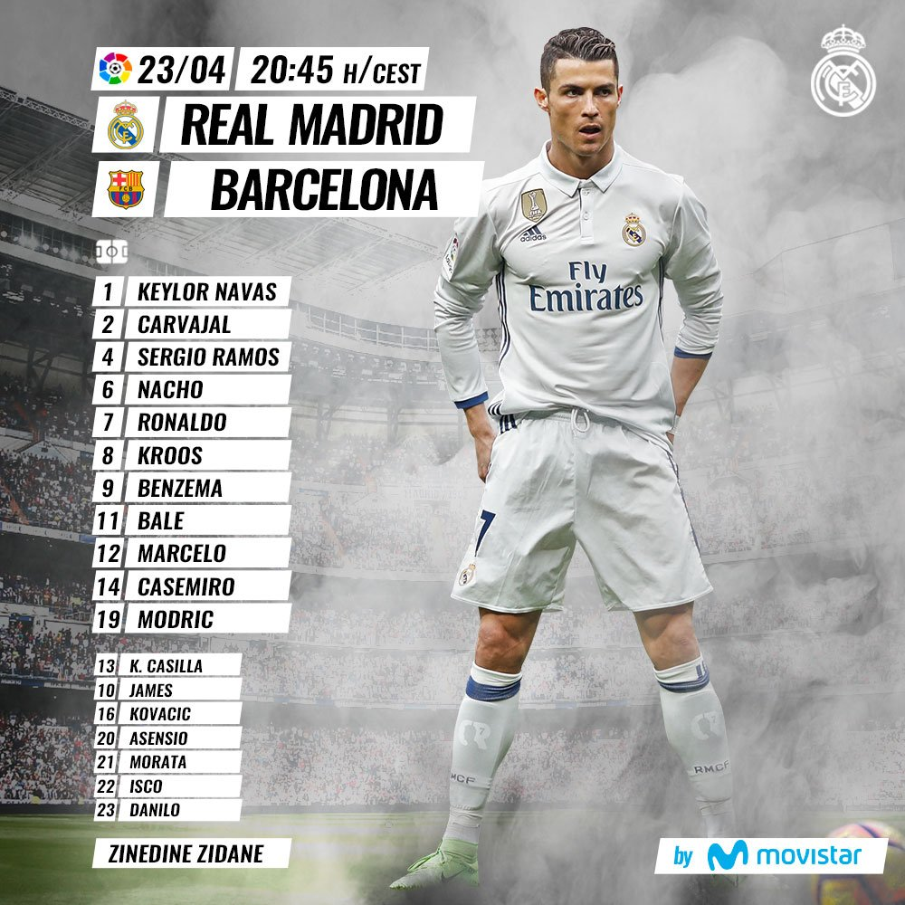 📝✅ #ElClasico #RealMadrid XI 🏃 🆚 Barcelona   🙌 ¡VAMOS! 🙌  #HalaMadrid #RMMovistar