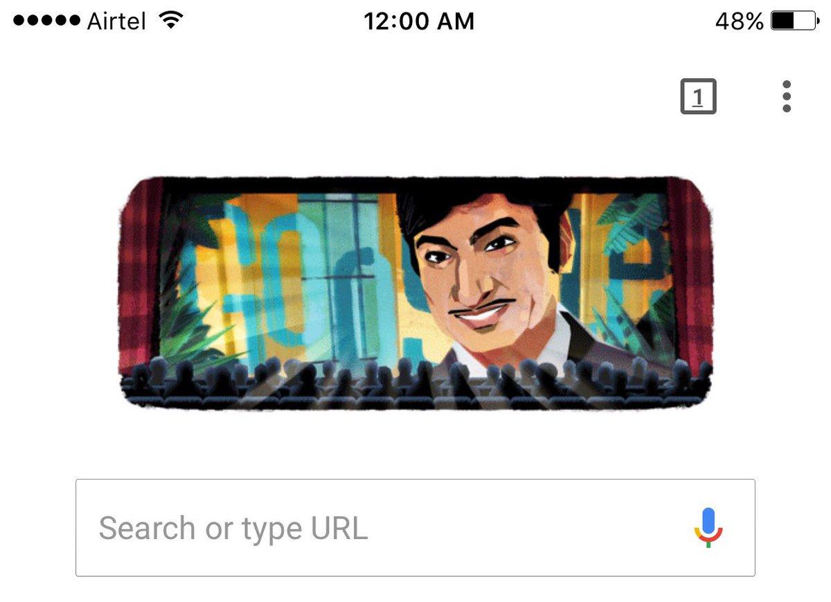Woah! Today's doodle feature is Dr. Rajkumar. Happy Birthday! #GoogleDoodle #Kannada https://t.co/1vFWN6OgMq