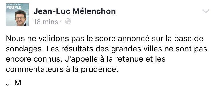 #BREAKING    Far-left #Melenchon writes on Facebook that he does&#39;t recognize preliminary results of 1st round of #Presidentielle2017.<br>http://pic.twitter.com/wxIJHKebvI