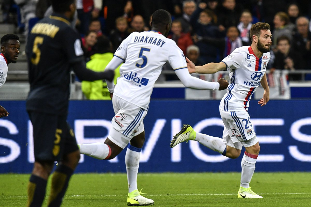 Lucas Tousart on the mark ... but Lyon slip down to fifth after a - home loss to Monaco. #UEL <br>http://pic.twitter.com/u3k7kcXx2K