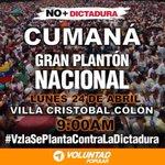 RT @VPASucre: #CUMANÁ Lunes 24 de Abril 9am frente...