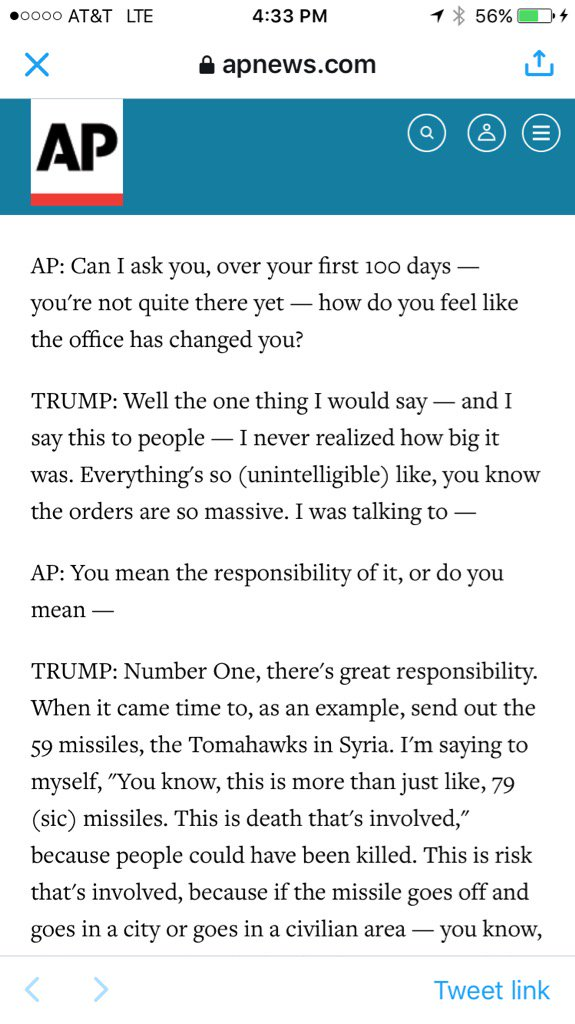 Trump says he never realized how big a job the presidency is. #YouFillInThePunchLine