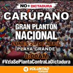 RT @VPASucre: #CARÚPANO Lunes 24 de Abril 8am #Pla...