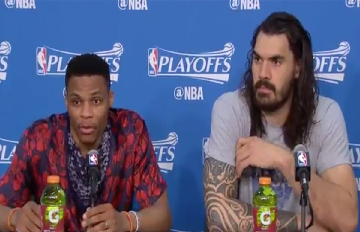 Russell Westbrook shut down a reporter who questioned OKC\'s drop-off in play without him: