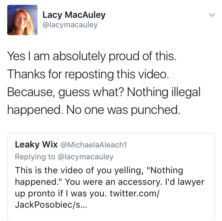 DC Antifa leader claims 'no one was punched.' I was, Lacy. And I have video.