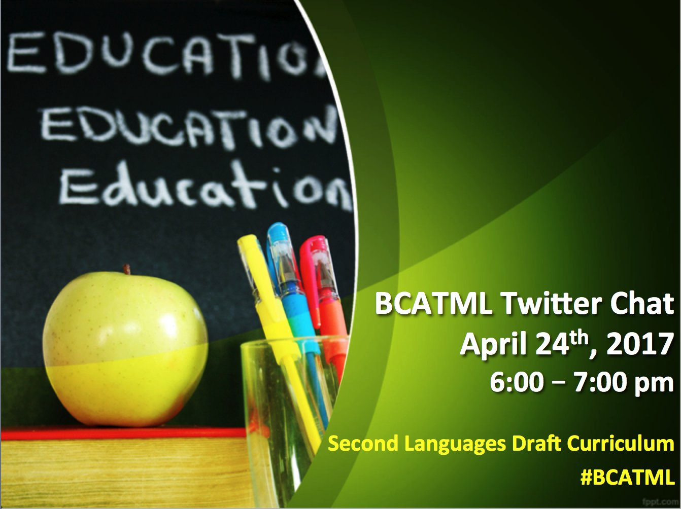 Reminder of #BCATML's Twitter chat Re: Second Languages draft curricula Mon. April 24 starting at 6 pm. .@bclca .@bctf #langchat #bcedchat https://t.co/sRnV2YjSHd