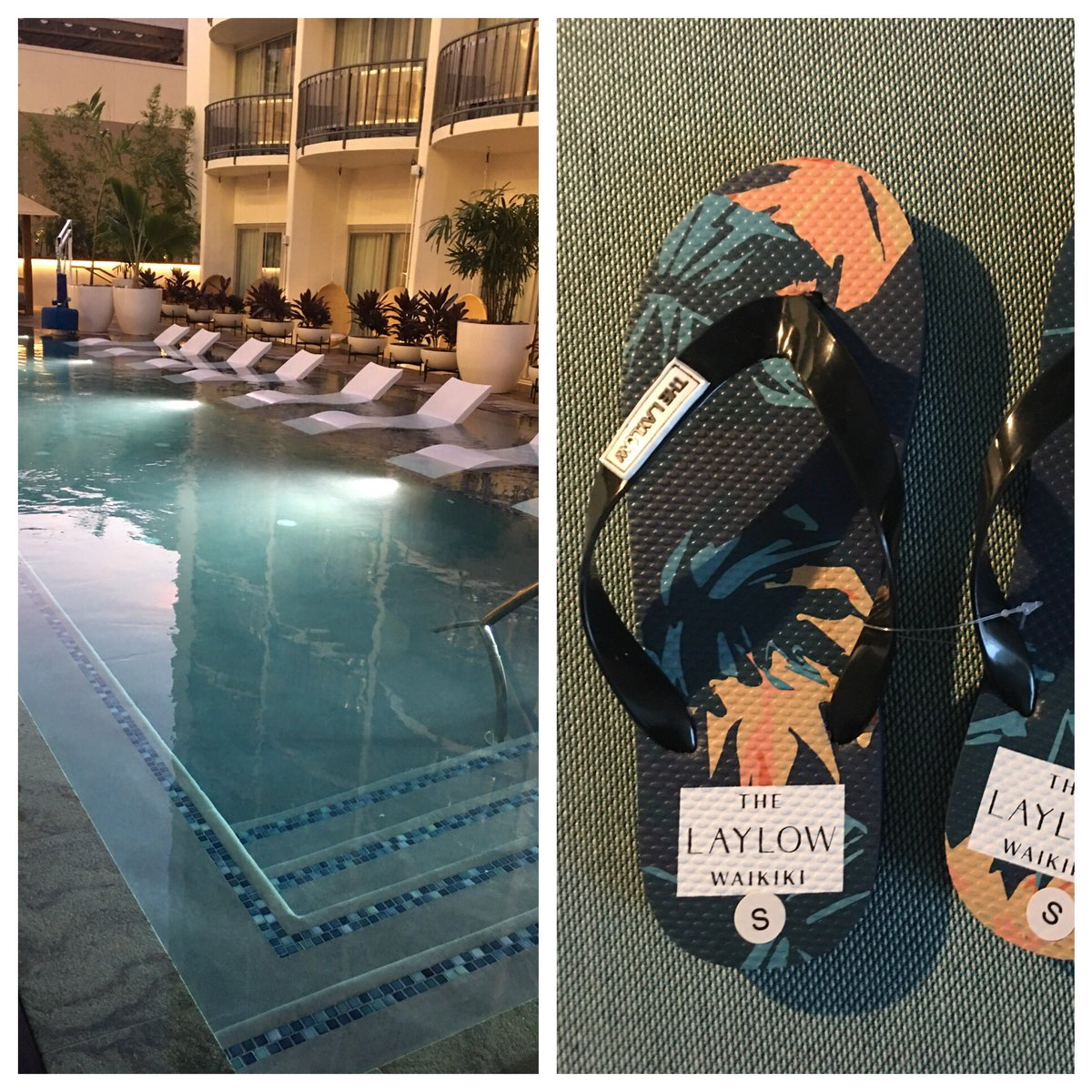Salt-water pool and branded slippers @LaylowWaikiki