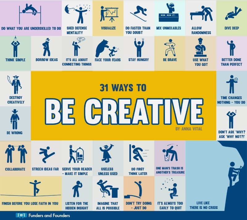 Here are 31 ways to be more creative.  [Infographic] @GrowUrStartup #Marketing #creativity #GrowthHacking #thinkoutofthebox #Startup<br>http://pic.twitter.com/EbE76IeD9a