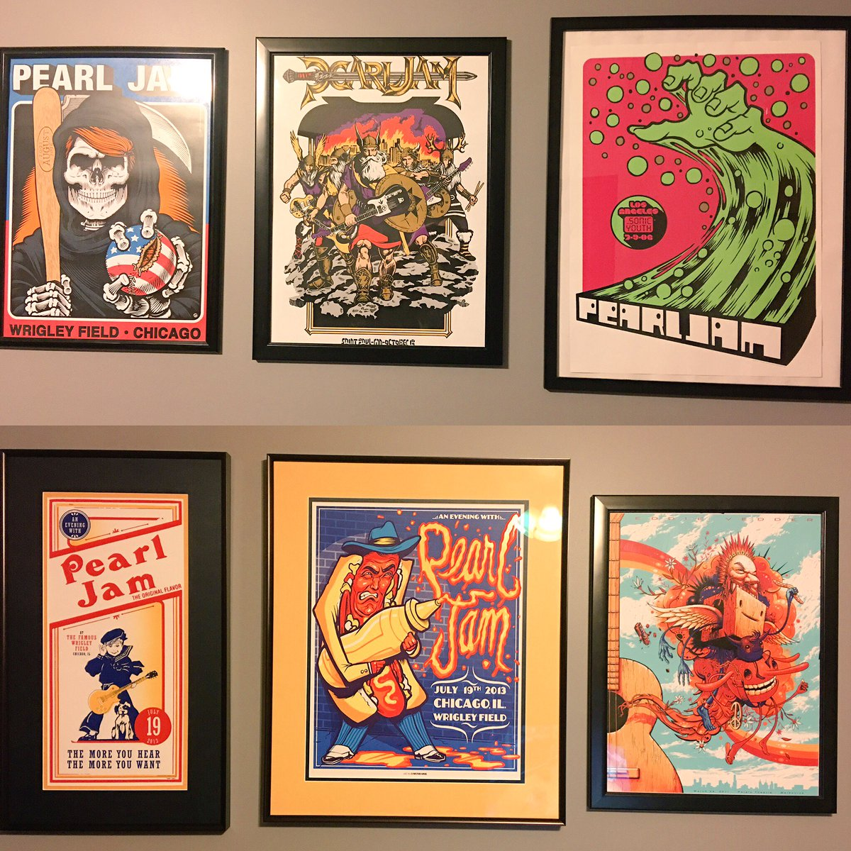 These oughta motivate me in the morning. Some of my fav @PearlJam show posters are hung. https://t.co/dk8p5ZIb5X