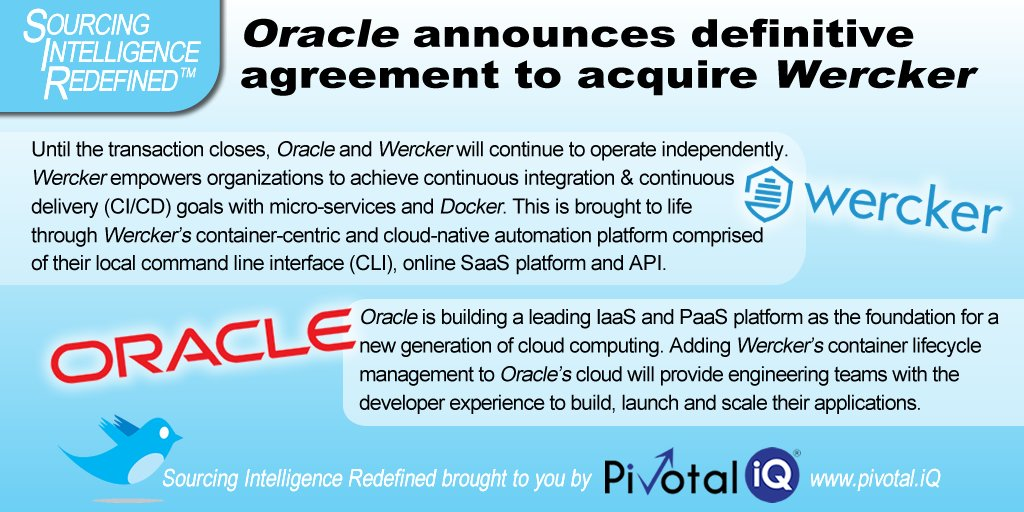 Pivotal Iq On Twitter Oracle Signs Deal To Acquire Wercker To