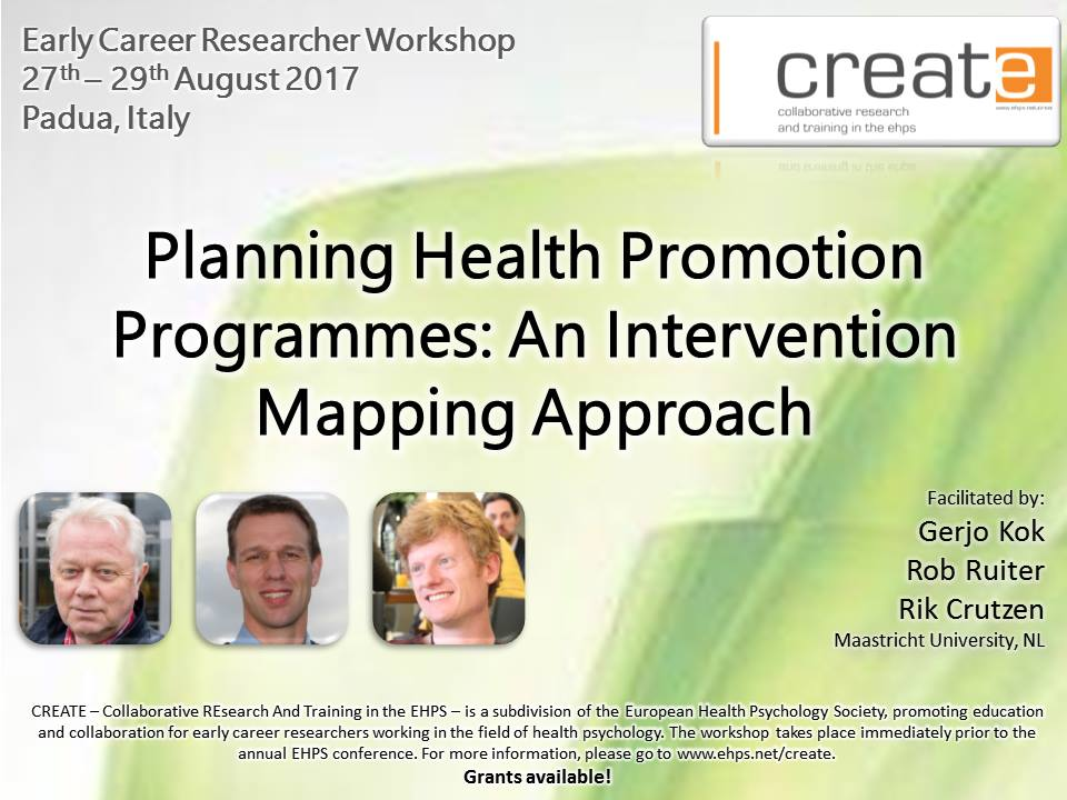 Congrats to all accepted to #EHPS2017! Learn all about Intervention Mapping with us at our CREATE 2017 #workshop #healthpsychology #PhD<br>http://pic.twitter.com/Len24rEGi1