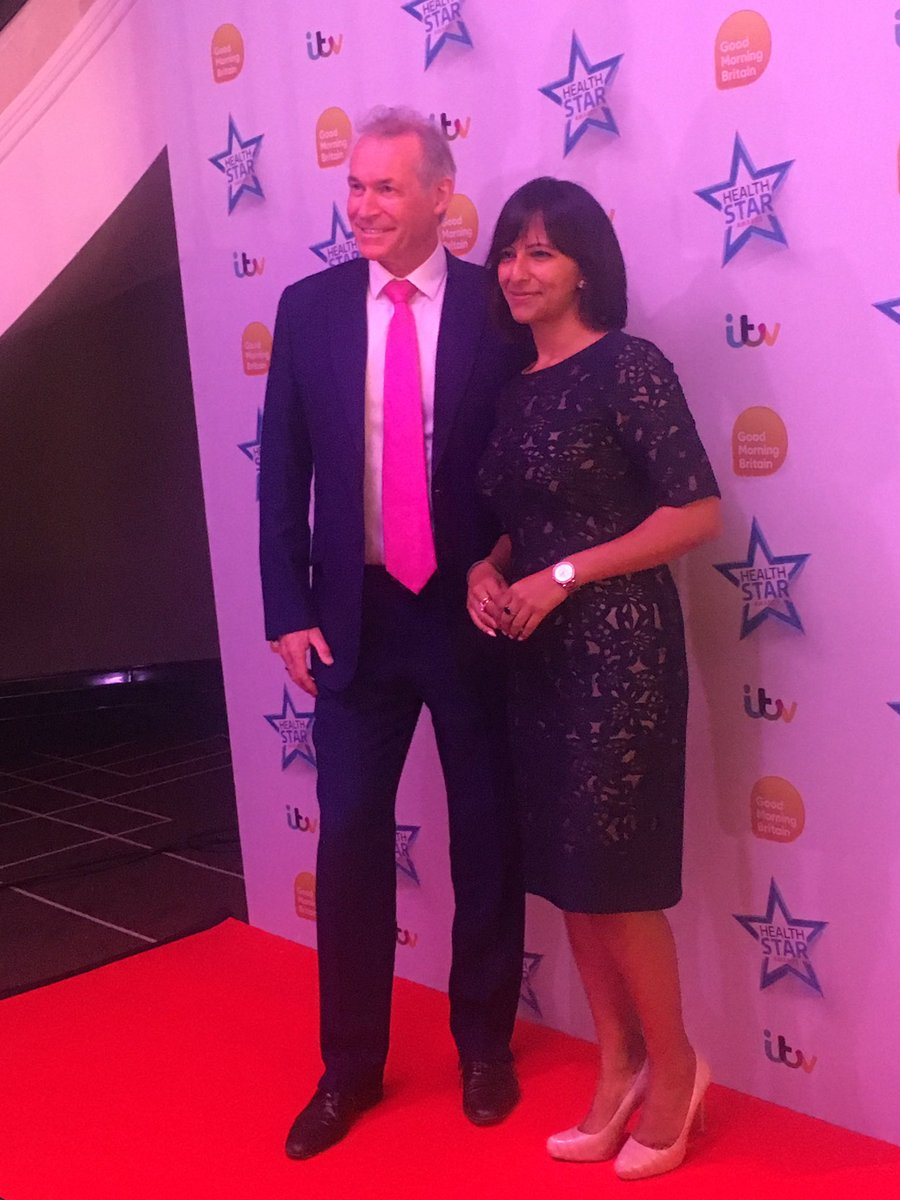 It's @DrHilaryJones and @ranvir01 at the #gmbhealthstar awards, ready...