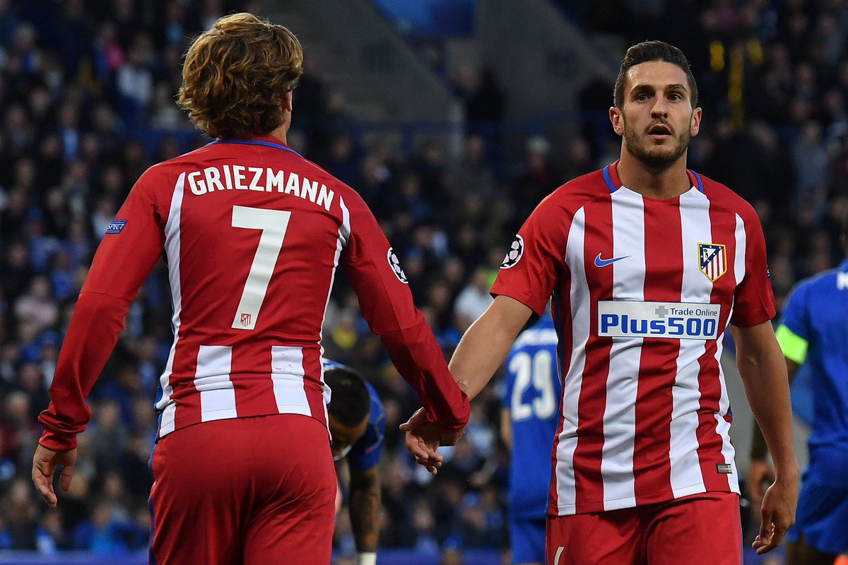 Distance covered in the #UCL 💨  🥇 Koke - 120,199m  🥈 Griezmann - 111,3...