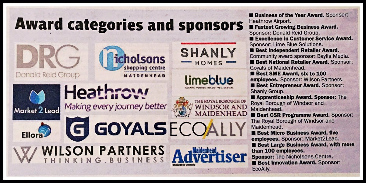 See our #award categories &amp; #sponsors @ #mwba2017 in Sept. Article covered by @MaidenheadAds covering @wilsonpartners @EcoAlly_UK<br>http://pic.twitter.com/F2tv7B7VeW