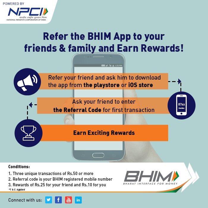 Earn exciting rewards by referring the BHIM App! #UpdateNow #BHIM #bhimapp #Refer&amp;Win<br>http://pic.twitter.com/zXzXGBbz7s