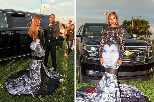 This teen wore a dress to prom designed with the faces of black victims of police brutality