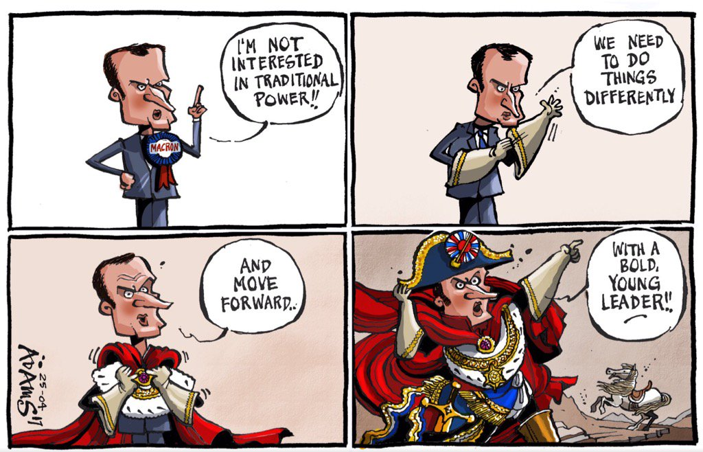 Macron as Emperor Napoleon, cartoon