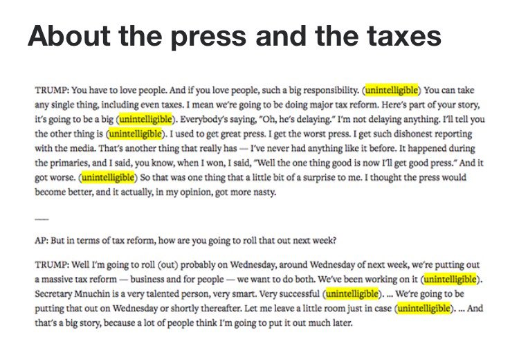 This is your #President speaking! The latest @realDonaldTrump interview transcript is full of &#39;unintelligible&#39; utterances. #100DaysOfShame<br>http://pic.twitter.com/Y9AR9WZRzY