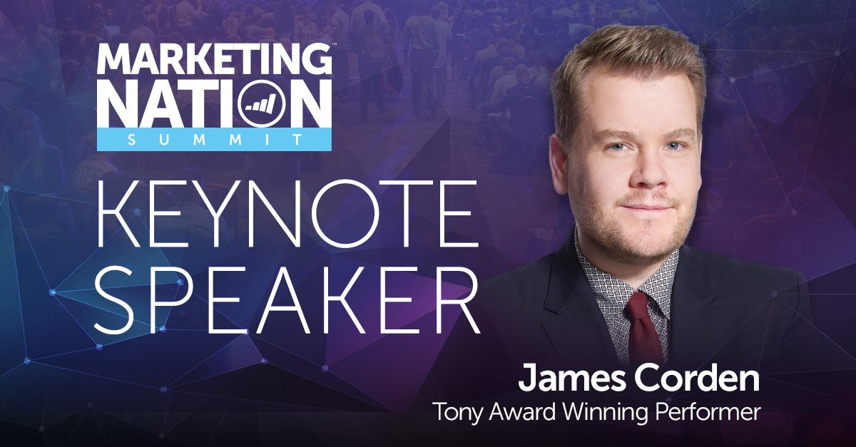 We're getting ready for James Corden to take the stage at #MKTGnation...