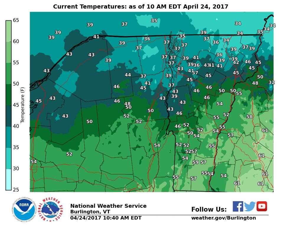 test Twitter Media - Temperatures at 10 am shows the cold front that has reached the southern half of VT. It will still reach 50s in the north today. #vtwx #nywx https://t.co/kQPFEkbZxu