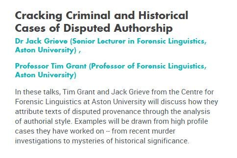 Aston University School Of Life Health Sciences On Twitter Join Timgrant123 Jwgrieve From Astonlss At Pint17 For A Fascinating Talk About Forensic Linguistics Https T Co G8iqbbsrau Https T Co Nm4c5oqvcg